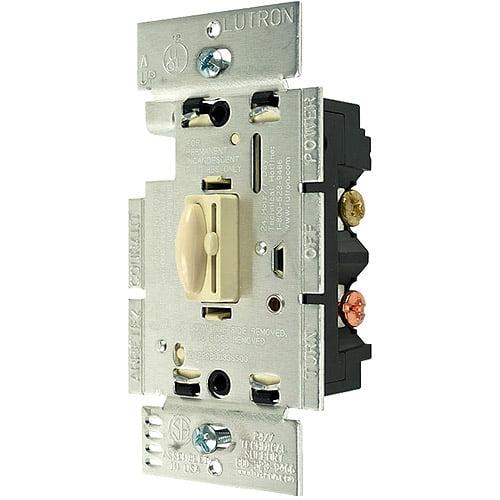 Lutron Qoto 600-Watt Single-Pole Dimmer & Switch, Ivory
