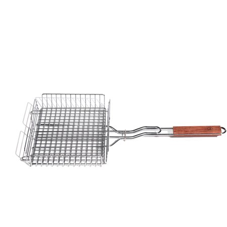 Outset Chrome Grill Basket with Rosewood Handle