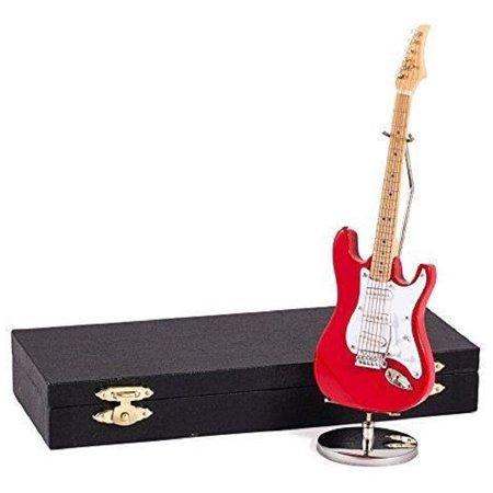 Red Electric Guitar with Case and Stand Replica Miniature Figurine 7 Inch (Stands Miniature)