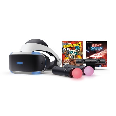 Sony PlayStation 4, PSVR Headset with Borderlands 2 & Beat Saber, Black,