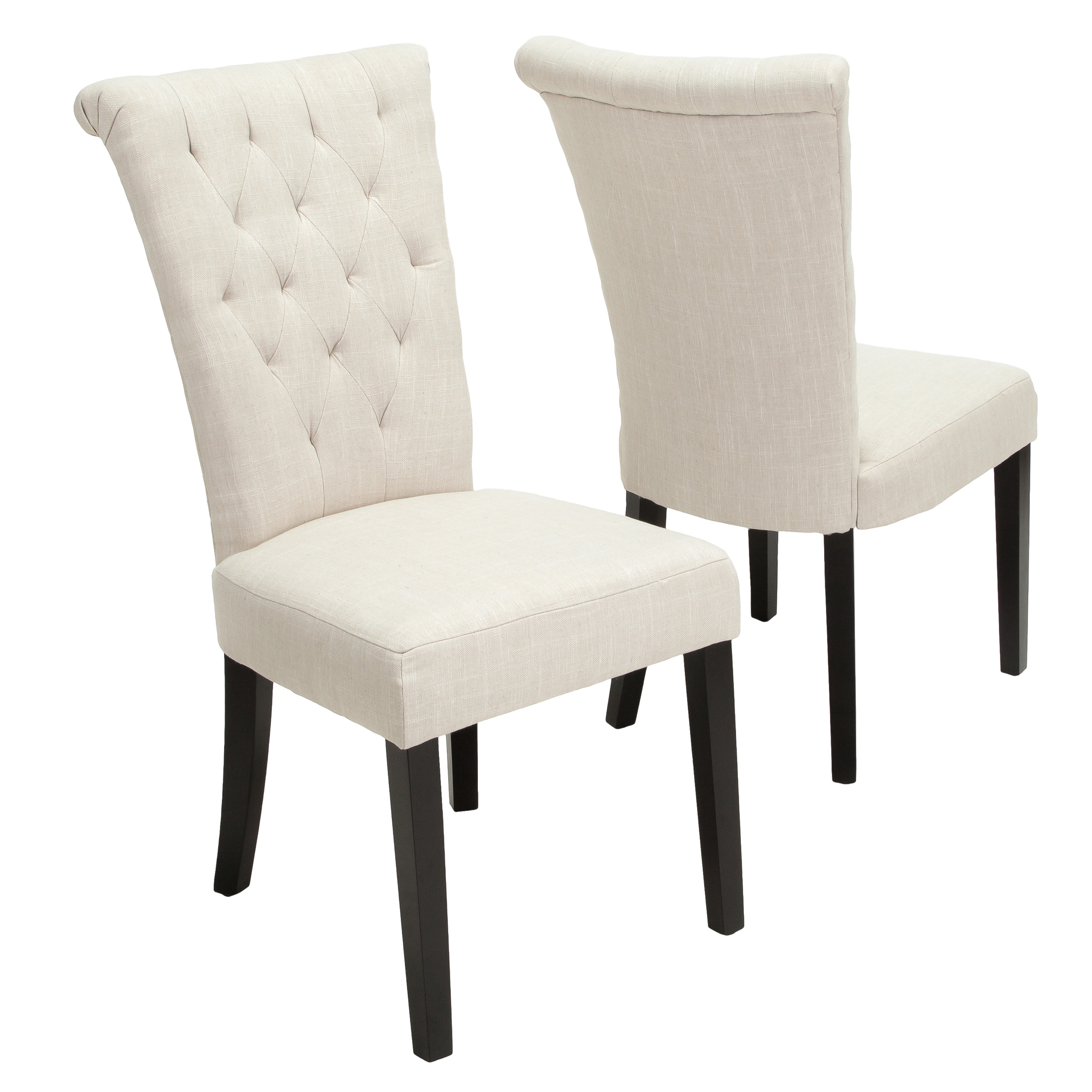 Alexandria Light Beige Fabric Wood Dining Chair (Set of 2) by GDF Studio