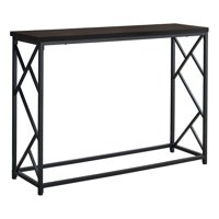 "ACCENT TABLE - 44""L / ESPRESSO / BLACK METAL HALL CONSOLE"