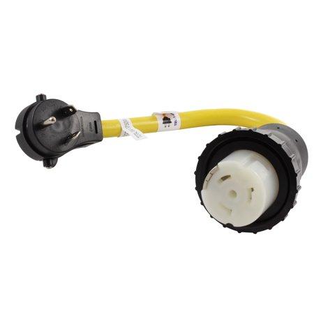 AC WORKS [TTM50-018] 1.5FT RV 30Amp TT-30P Plug to SS2-50R RV/Marine 50Amp Detachable Inlet Connection -