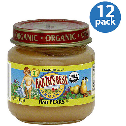 Earth's Best Stage 1 First Pears Baby Food, 2.5 oz (Pack of 12)
