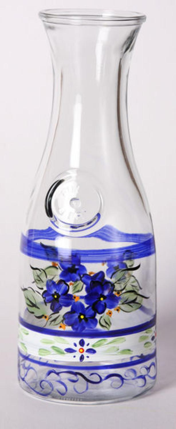 Blue Floral Hand Painted Frosted Glass Serving Carafe 34 Ounces by Crafted Creations