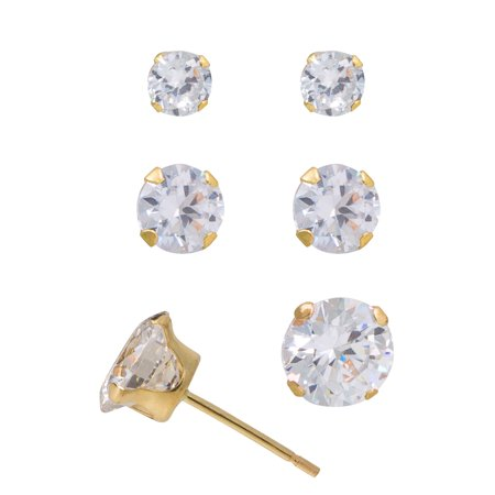 10kt Yellow Gold 3mm, 4mm, and 5mm CZ Stud Set