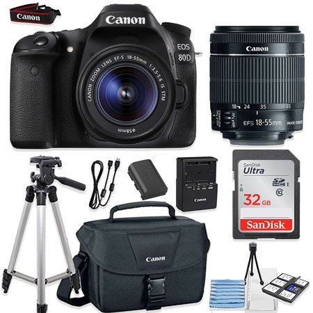 """Canon EOS 80D 24.2MP DSLR Camera Bundle (Wi-Fi) with Canon EF-S 18-55mm f/3.5-5.6 IS STM Lens + Canon Camera Bag + 32GB Memory Card + Canon Deluxe Camera Bag + 50"""" Tripod + Camera Starter Kit"""