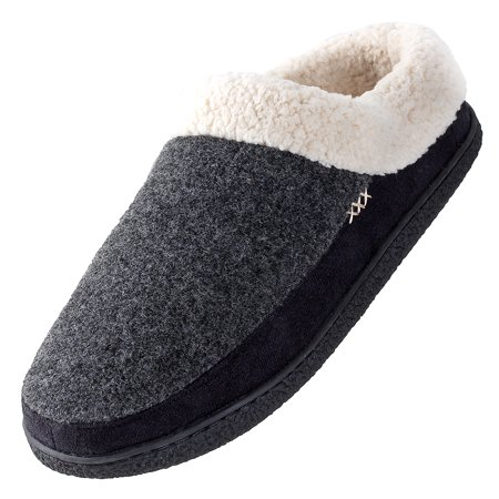 Urban Fox Slippers for Men - Micro Suede Everson | House Shoes I Rubber-Sole | Faux Fur | Indoor Outdoor Men's Slippers Grey/Black 8