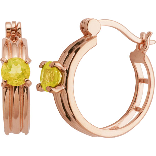 5mm Round Genuine Citrine 18kt Rose Gold over Sterling Silver Hoop Earrings