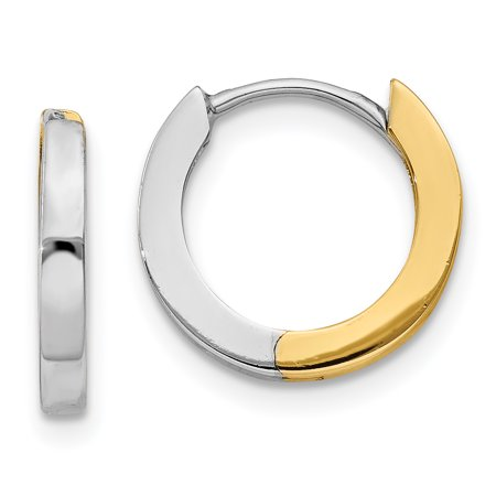 14k Two Tone Yellow Gold 2mm Hinged Hoop Earrings Ear Hoops Set Gifts For Women For Her