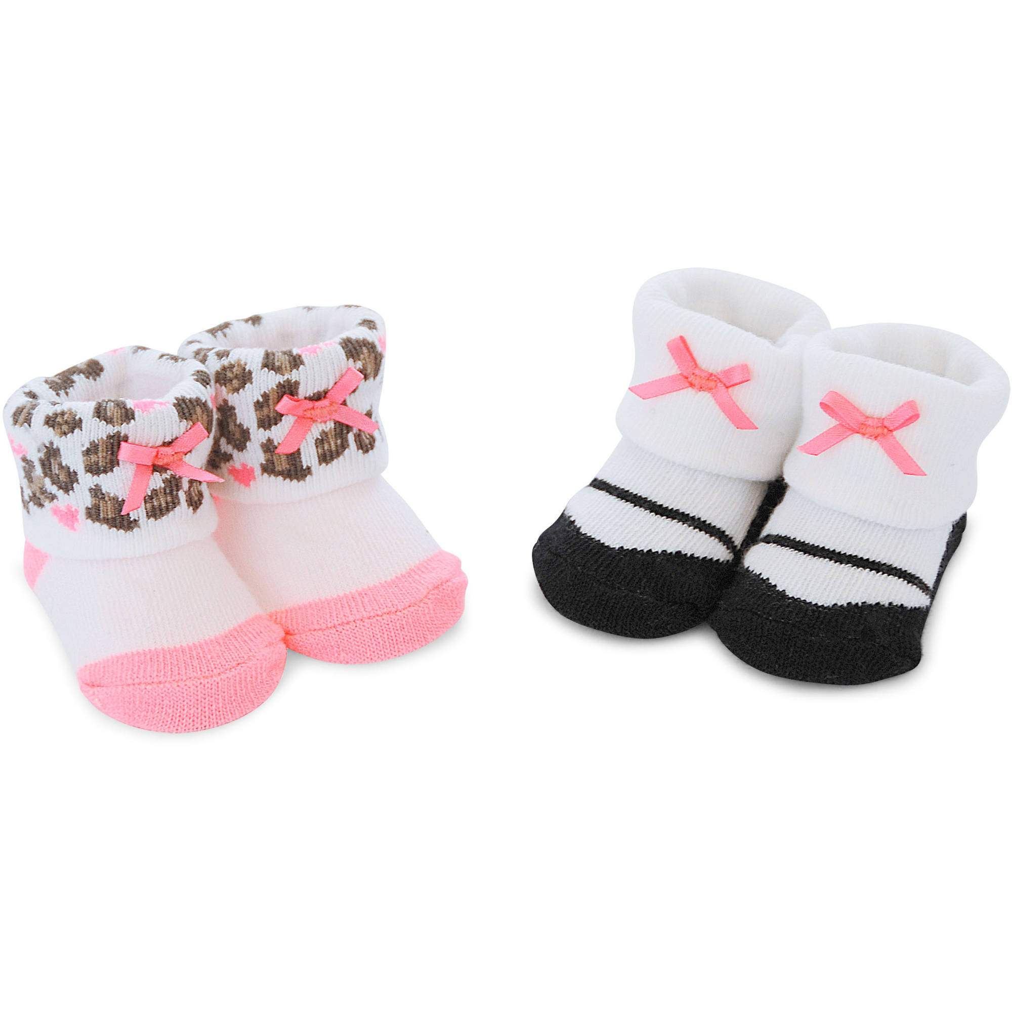 Newborn Baby Girl Leopard Keepsakes Laces, 2 Pack