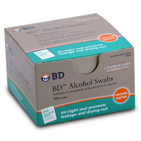 BD Alcohol Prep Pad  Isopropyl Alcohol, 70% Individual Packet, NonSterile, 1 X 3/4 Inch - 100 Count
