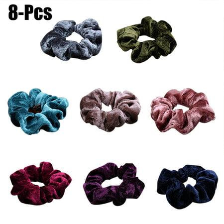8PCS Hair Scrunchies Soft Elastic Traceless Pleuche Hair Ropes Hair Ties for Girls Women(Random Color) - Slinky Hair Ties