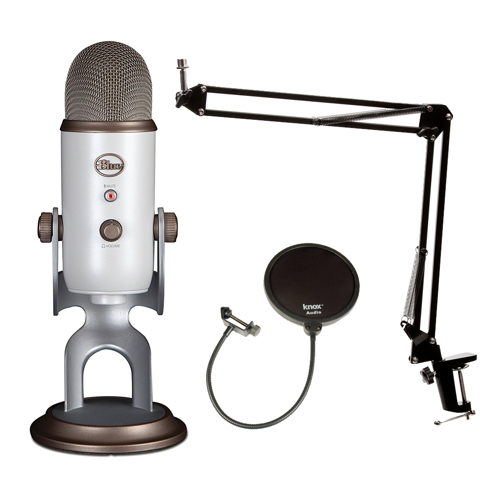 Blue Microphones Vintage White YETI Mic w Knox Boom Arm Stand, & Pop Filter by Blue Microphones