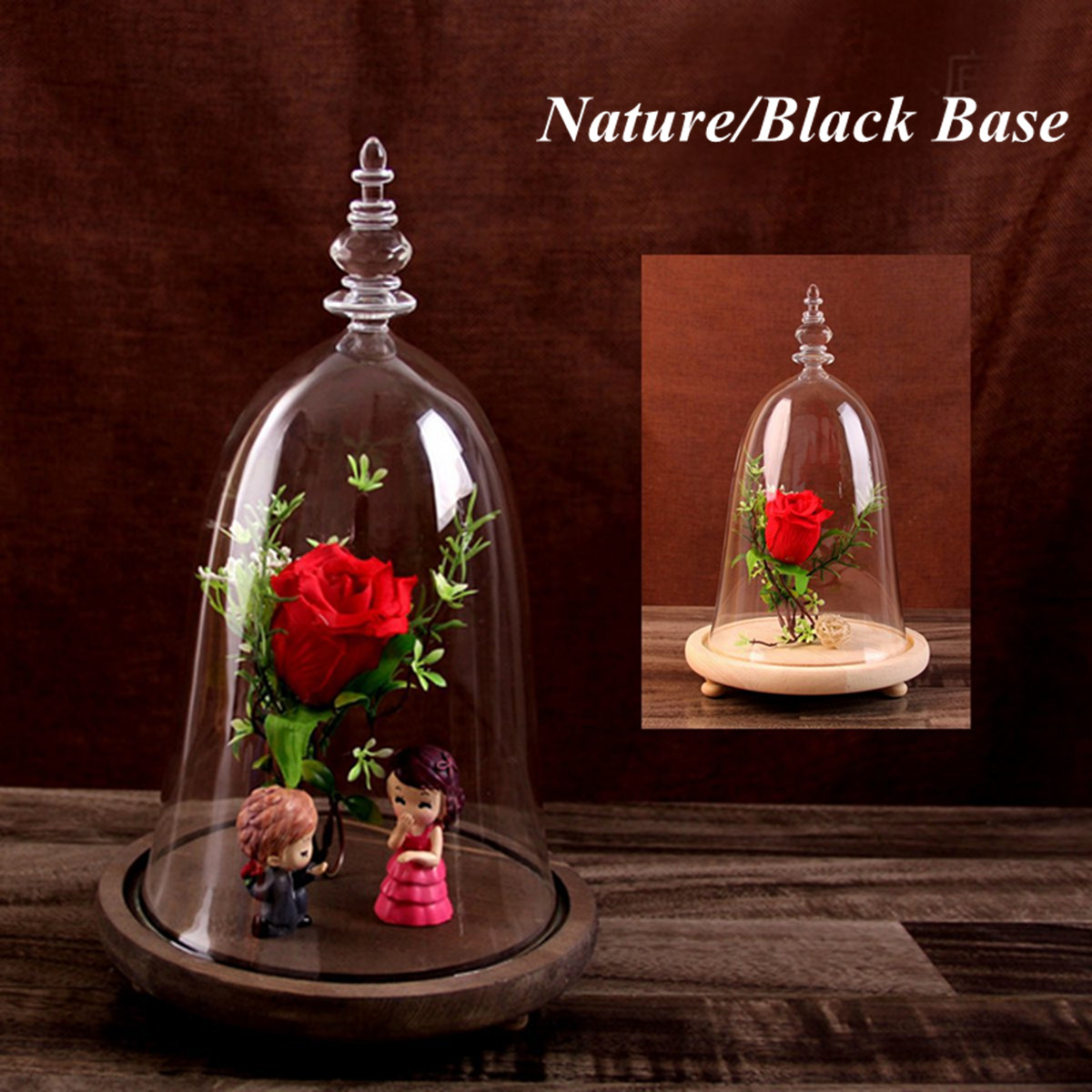 Moaere Decorative Clear Glass Cloche Bell Jar Display Case with Rustic Bamboo Base Tabletop Centerpiece Dome H10 Inches
