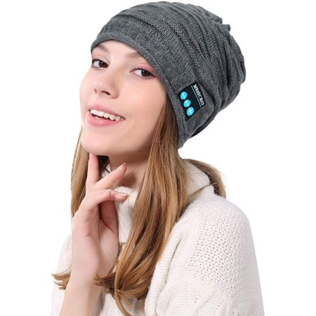 Jhua Bluetooth Beanie Hat Wireless Knitted Warm Winter Music Hat Cap with Stereo Speaker Headphones & Mic for Christmas - image 1 of 5