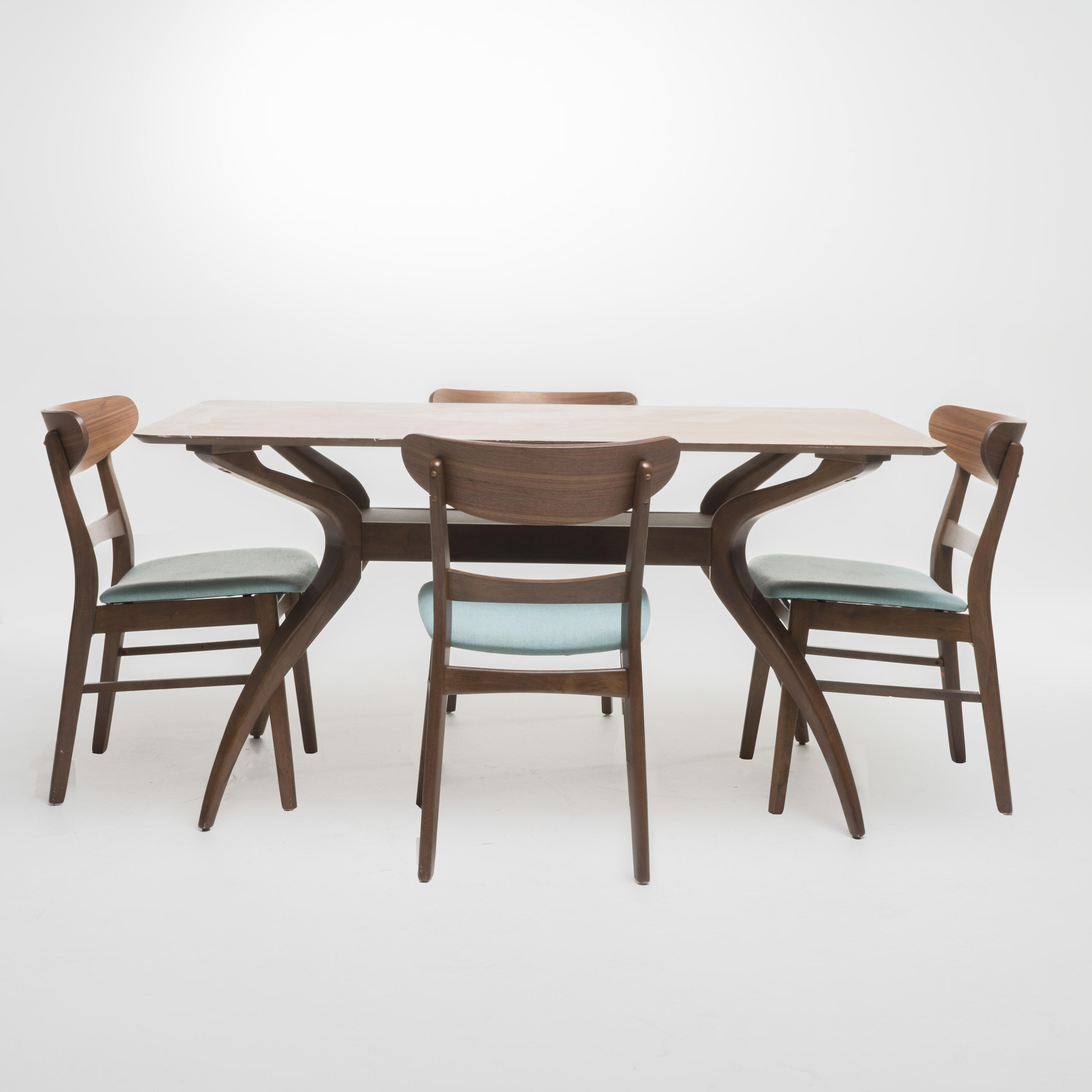 Teigen Curved Leg Rectangular 5-Piece Dining Set, Mint/ Natural Walnut Finish