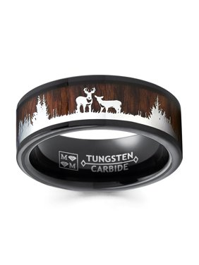 Men's Black Tungsten Hunting Ring Wedding Band Wood Inlay Deer Stag Silhouette 8MM