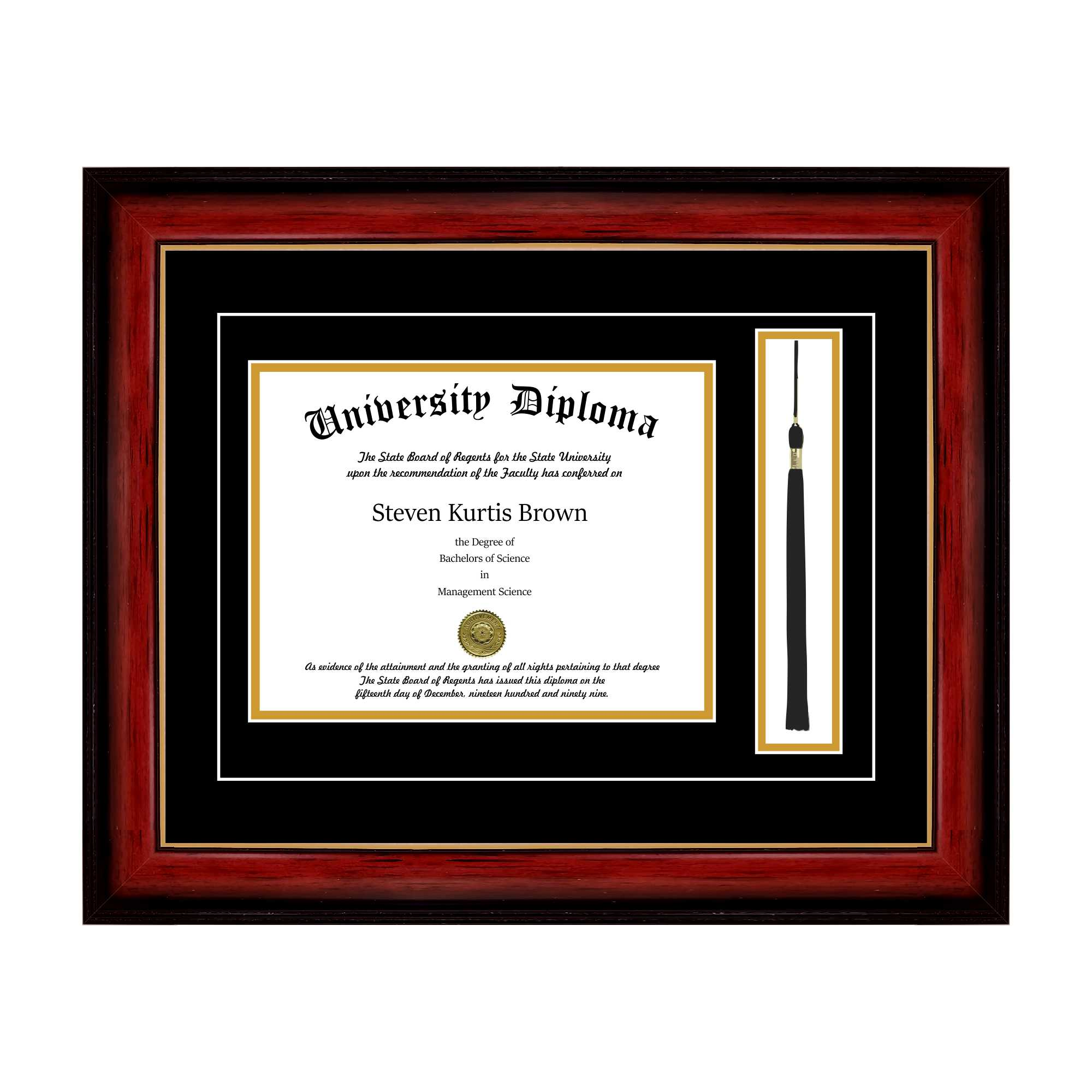 "Single Diploma Frame with Tassel and Double Matting for 8.5"" x 11"" Tall Diploma with Cherry 1.5"" Frame"