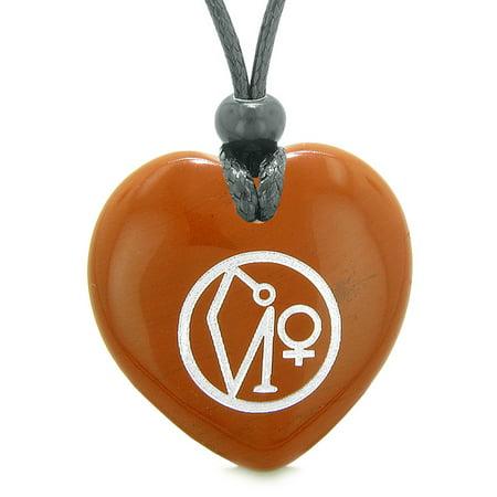 Red Jasper Heart Necklace - Archangel Uriel Sigil Magic Planet Energy Puffy Heart Amulet Red Jasper Pendant Adjustable Necklace
