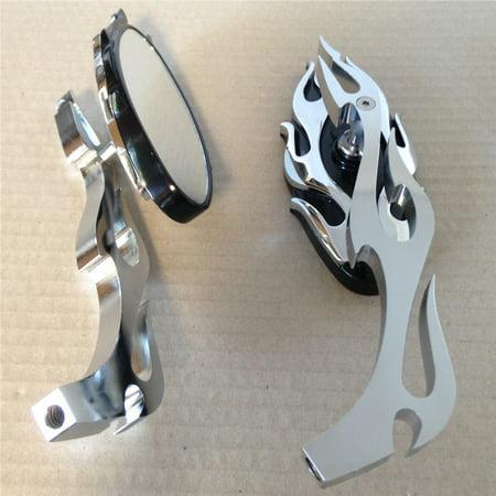 HTT-MOTOR Motorcycle Flame style rearview mirror for any cruiser chopper custom Chrome