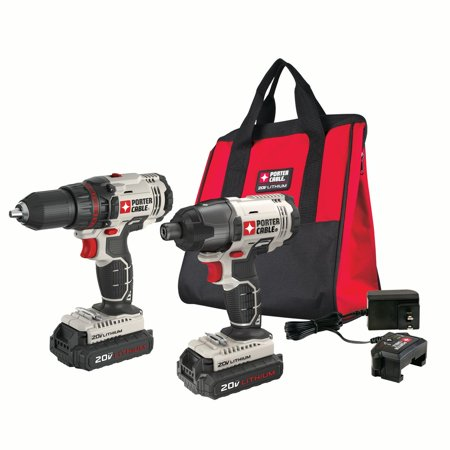 Porter Cable 20 Volt Max Lithium Ion Cordless 1 2 Inch Drill And Impact Driver Combo Kit Pcck604l2