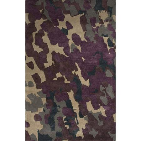 2 39 x 3 39 plum purple gray and cream tempera modern hand for Plum and cream rug