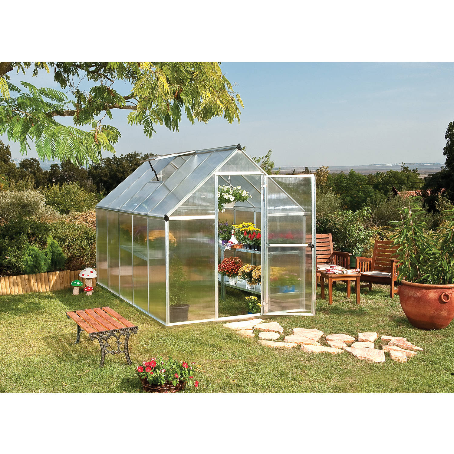 Palram Mythos Greenhouse, 6' x 10', Silver by Palram