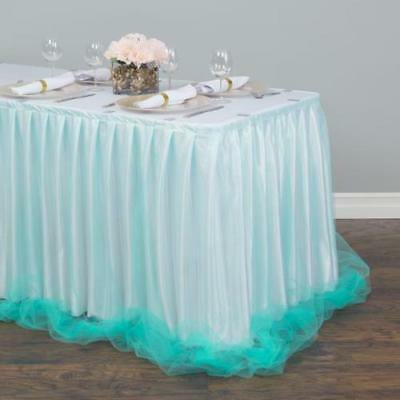 14 ft. Two Tone Tulle Chiffon Table Skirt White/Tiffany Blue 14' Tiffany Style Table