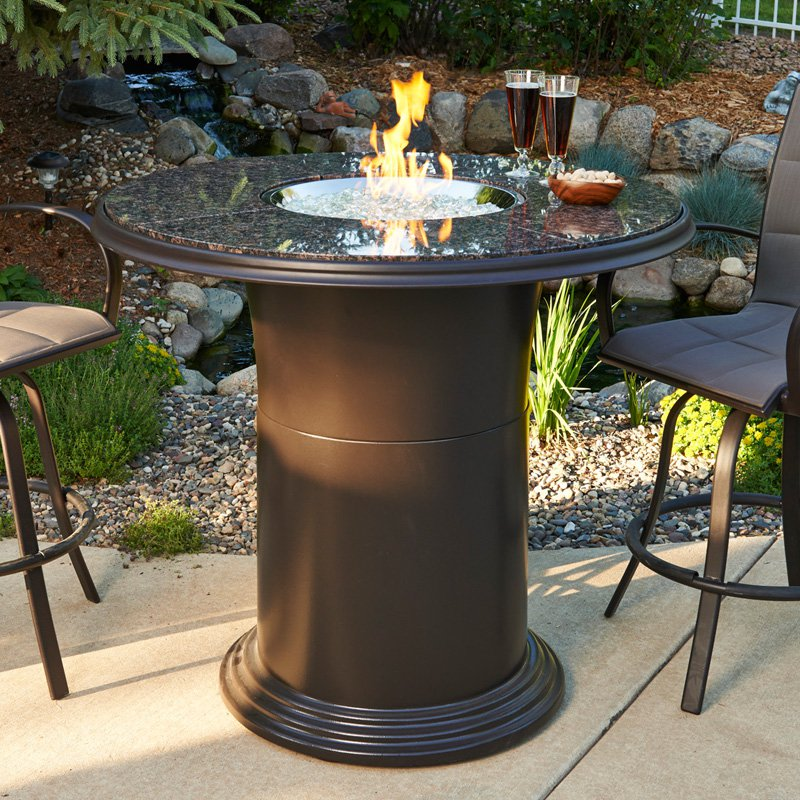 Grand Colonial Bar Height Fire Pit Table With Free Lazy Susan