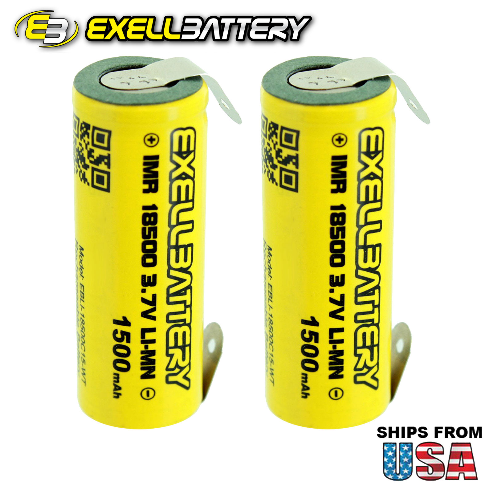BRAND NEW 2pc IMR 18500 3.7V LiMN 1500mAh Rechargeable Battery w/ Solder TABS