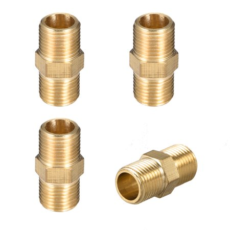 """Brass Pipe Fitting, Thread Hex Nipple 1/8"""" x 1/8"""" G Male Pipe Brass Fitting 4pcs - image 1 of 4"""