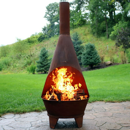 Stupendous Sunnydaze Rustic Chiminea Fire Pit Outdoor Patio Wood Burning Fireplace 6 Foot Tall Home Interior And Landscaping Ologienasavecom