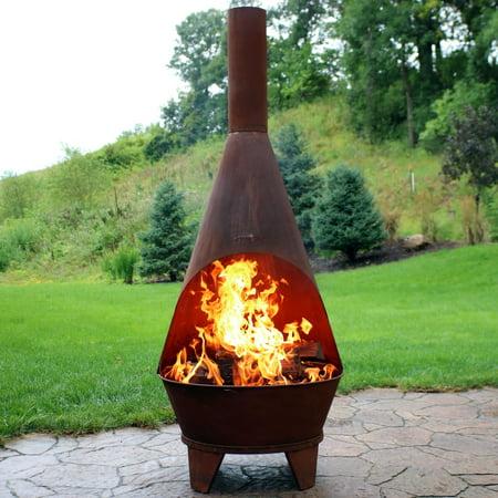sunnydaze rustic chiminea fire pit outdoor patio wood burning fireplace  foot tall walmartcom