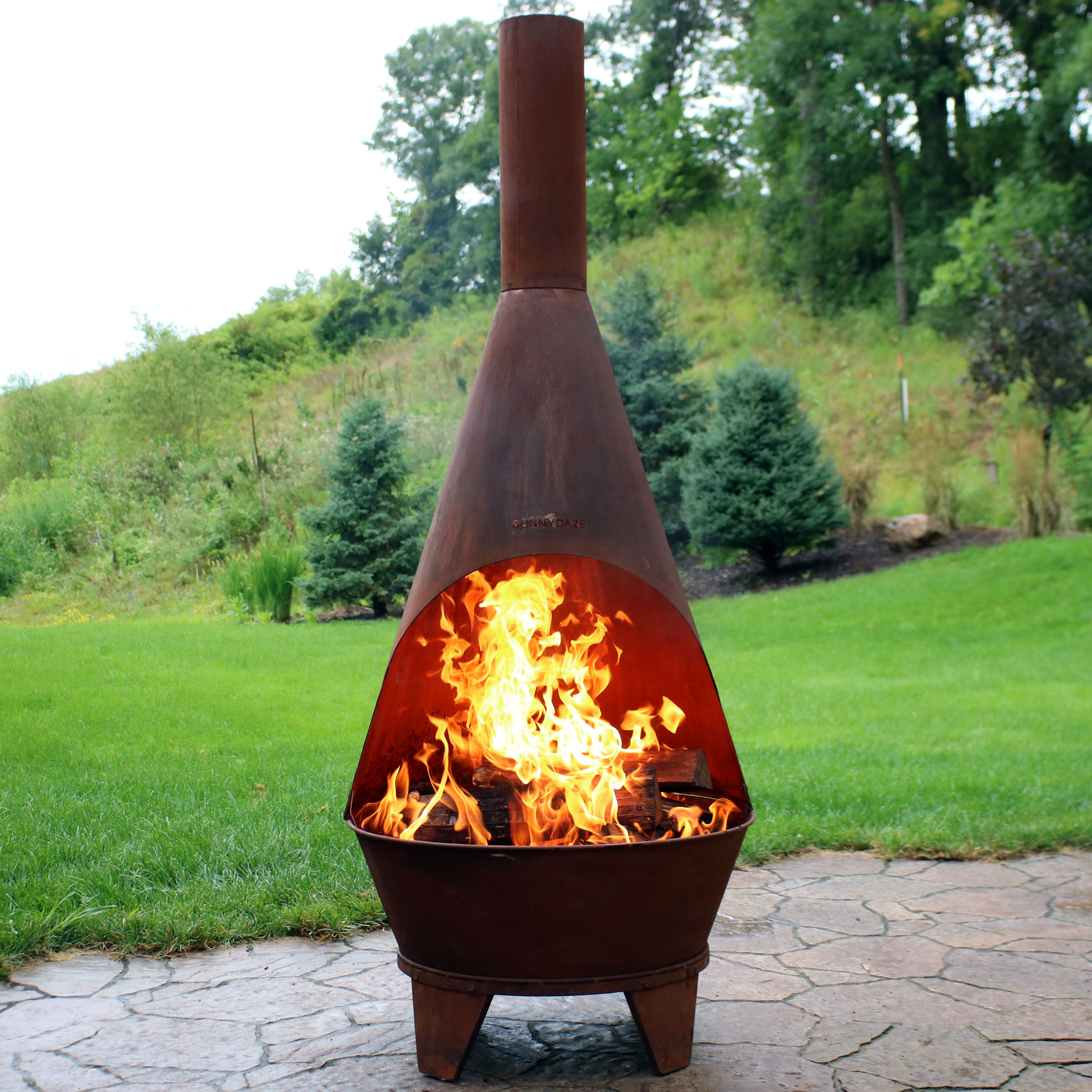 Delicieux Sunnydaze Rustic Chiminea Fire Pit, Outdoor Patio Wood Burning Fireplace, 6  Foot Tall