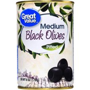 (6 Pack) Great Value Medium Pitted Black Olives, 6 oz