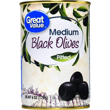 (6 Pack) Great Value Medium Pitted Black Olives, 6 oz