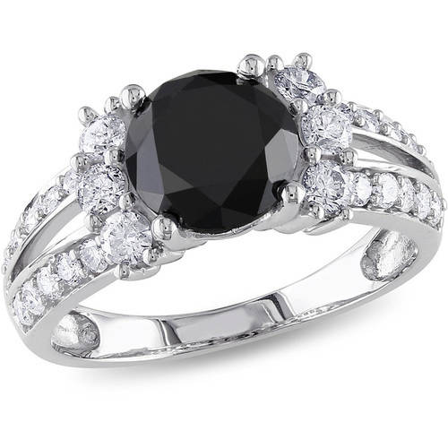 2-5/8 Carat T.W. Black and White Diamond 14kt White Gold Engagement Ring