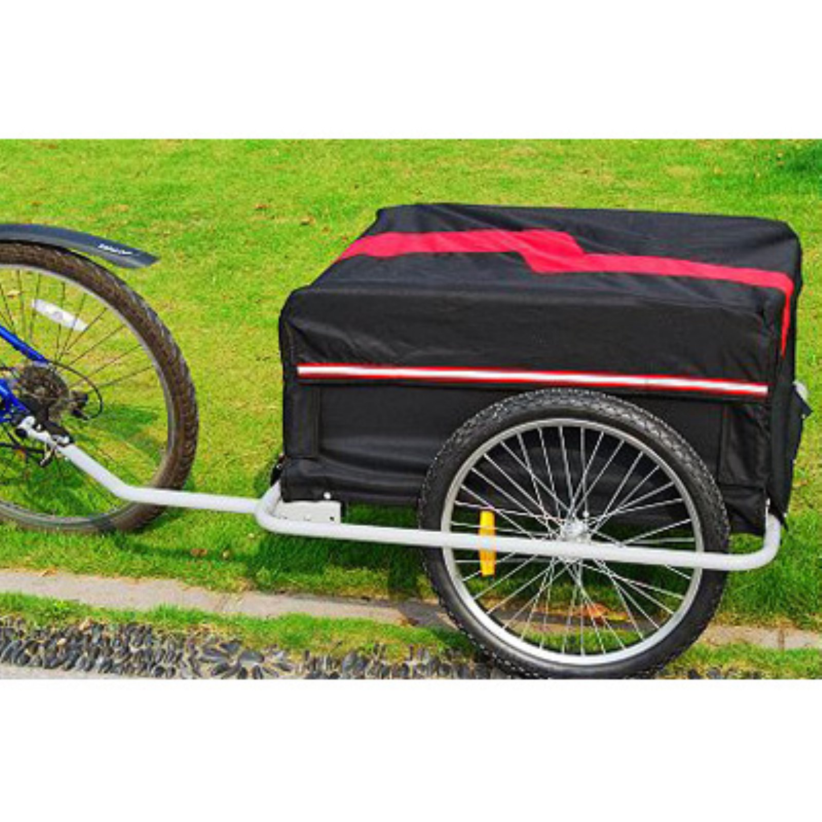 Aosom Elite II Large Bike Cargo Trailer - Black/Red