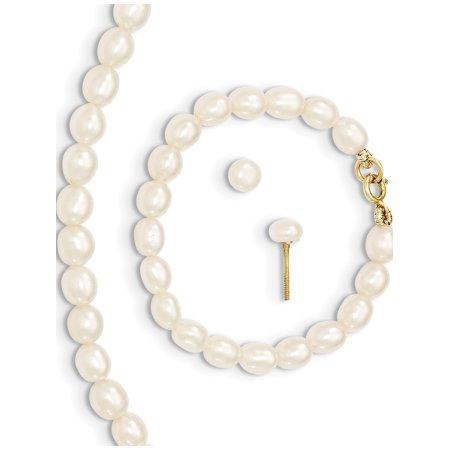 14k or jaune blanc FW 12 Collier de perles de culture, 4 Set Bracelet et boucles d'oreilles - image 2 de 2