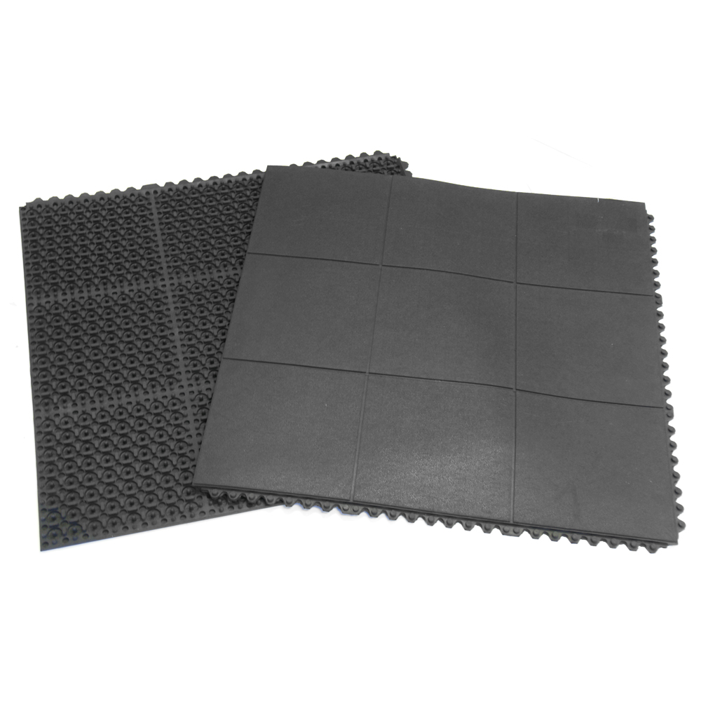 "Rubber-Cal ""Revolution"" Interlocking Rubber Floor - 5/8 x 36 x 36-inch Rubber Tiles - Black - 4 Pack"