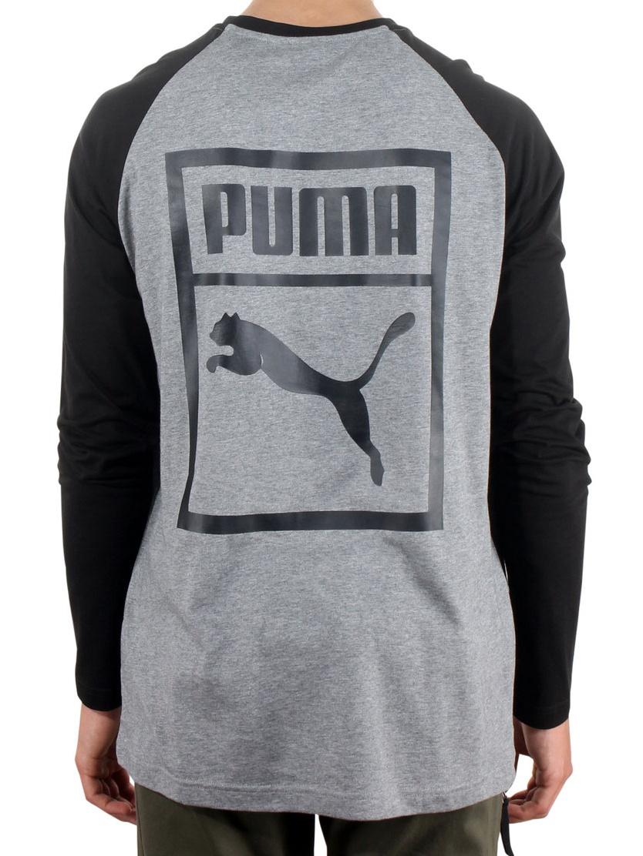 9662435b Puma Archive Logo Raglan Men's Longsleeve T-Shirt Grey/Black 573304-03
