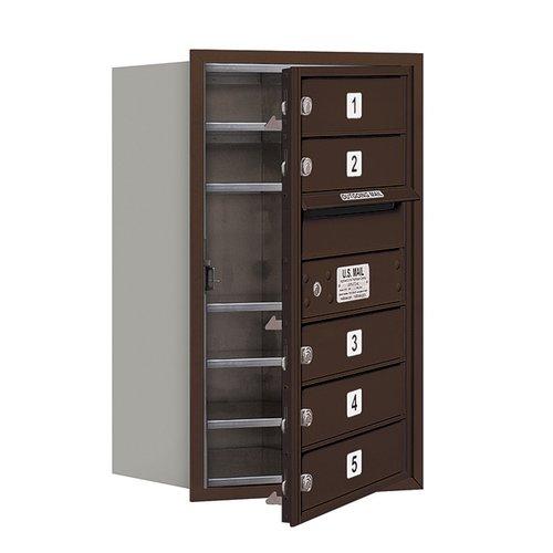 "Salsbury Industries 4C Horizontal Mailbox 7-Door High Unit (27""), Single Column, 5 MB1 Doors, Aluminum, Front Load, USPS Access"