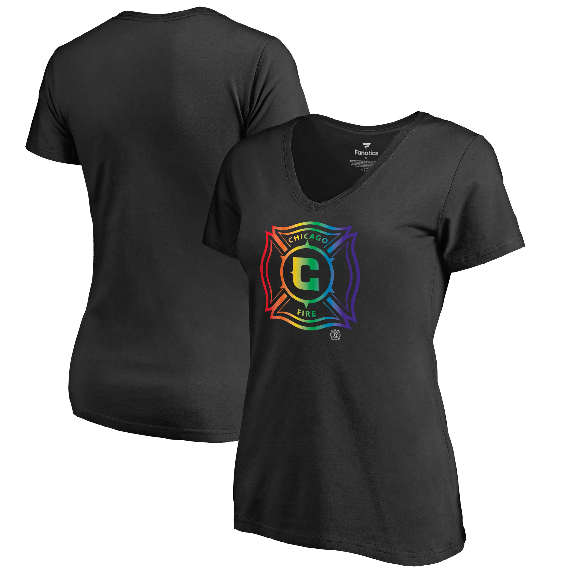 Chicago Fire Fanatics Branded Women's Team Pride V-Neck T-Shirt - Black