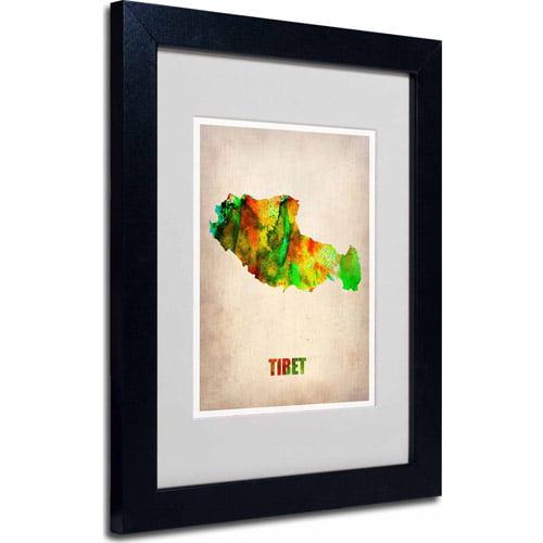 "Trademark Fine Art ""Tibet Watercolor Map"" Matted Framed Art by Naxart, Black Frame"