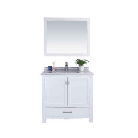 Bathroom Cabinets Countertops - Wilson 36 - White Cabinet + White Stripe Countertop