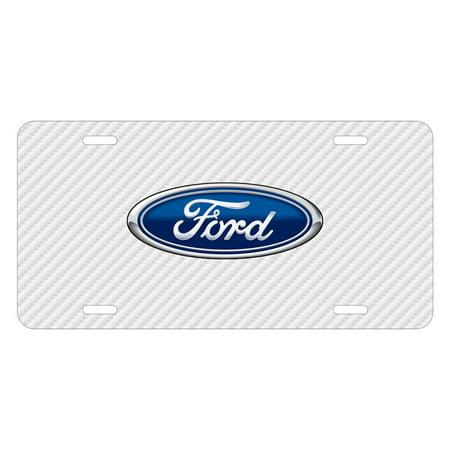 Ford Logo White Carbon Fiber Texture Graphic UV Metal License (Logo Carbon Fiber)