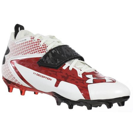 f03b72bb7 UNDER ARMOUR MEN S FOOTBALL CLEATS TEAM DECEPTION XT MC NTR S WHITE RED  BLACK 11.5 M - Walmart.com
