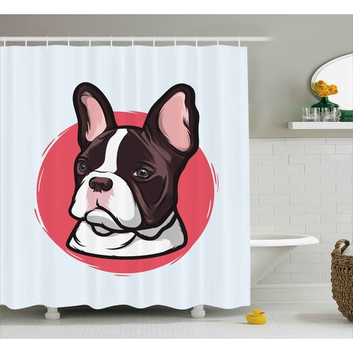 Ebern Designs Maryellen Animal Cute French Bulldog Portrait Hipster Purebred Creature Pet Illustration Shower Curtain