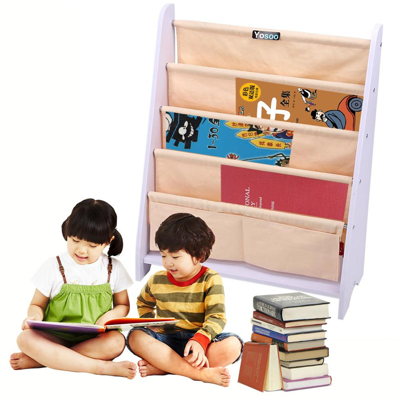 "32.28 x 13.39 x 3.15"" Childrens Kids Bookcase Rack Sling Storage Bedroom Playroom Book Shelf"